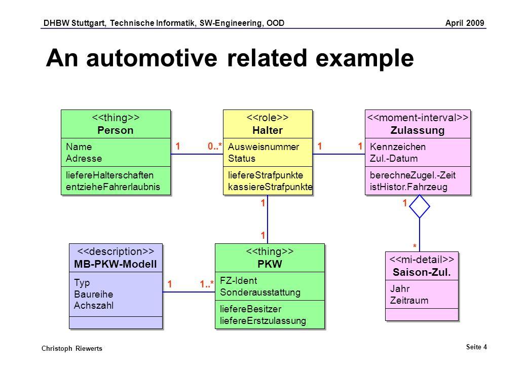 DHBW Stuttgart, Technische Informatik, SW-Engineering, OOD April 2009 Seite 4 Christoph Riewerts An automotive related example > PKW > PKW FZ-Ident So