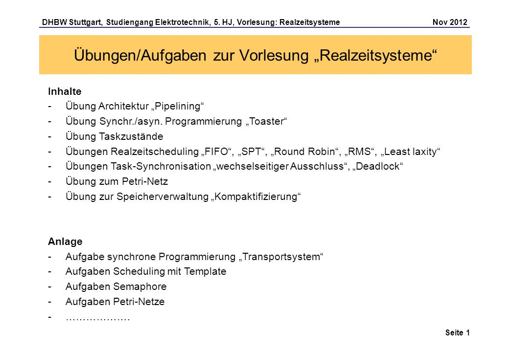 Seite 12 DHBW Stuttgart, Studiengang Elektrotechnik, 5.