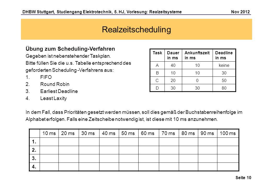 Seite 10 DHBW Stuttgart, Studiengang Elektrotechnik, 5. HJ, Vorlesung: Realzeitsysteme Nov 2012 Realzeitscheduling Übung zum Scheduling-Verfahren Gege