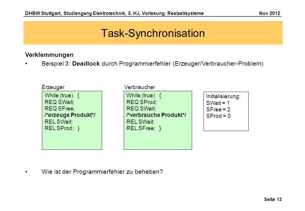 Seite 13 DHBW Stuttgart, Studiengang Elektrotechnik, 5. HJ, Vorlesung: Realzeitsysteme Nov 2012 Task-Synchronisation Verklemmungen Beispiel 3: Deadloc