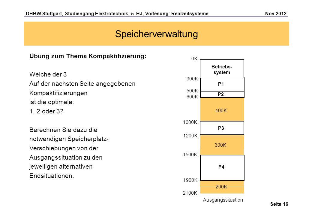 Seite 16 DHBW Stuttgart, Studiengang Elektrotechnik, 5. HJ, Vorlesung: Realzeitsysteme Nov 2012 Speicherverwaltung Übung zum Thema Kompaktifizierung: