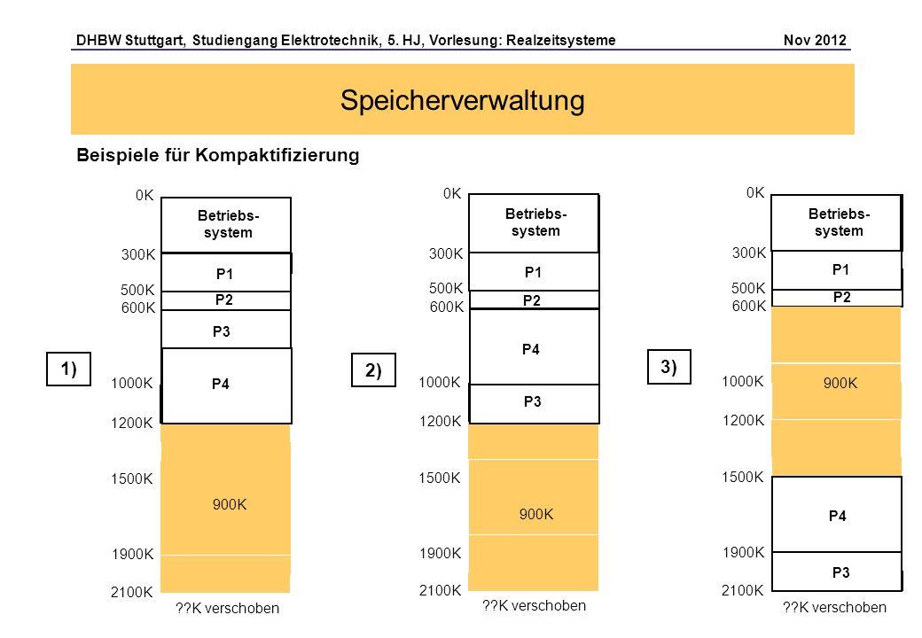 Seite 17 DHBW Stuttgart, Studiengang Elektrotechnik, 5. HJ, Vorlesung: Realzeitsysteme Nov 2012 Speicherverwaltung Beispiele für Kompaktifizierung 0K