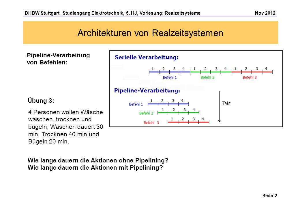 Seite 2 DHBW Stuttgart, Studiengang Elektrotechnik, 5. HJ, Vorlesung: Realzeitsysteme Nov 2012 4 Personen wollen Wäsche waschen, trocknen und bügeln;