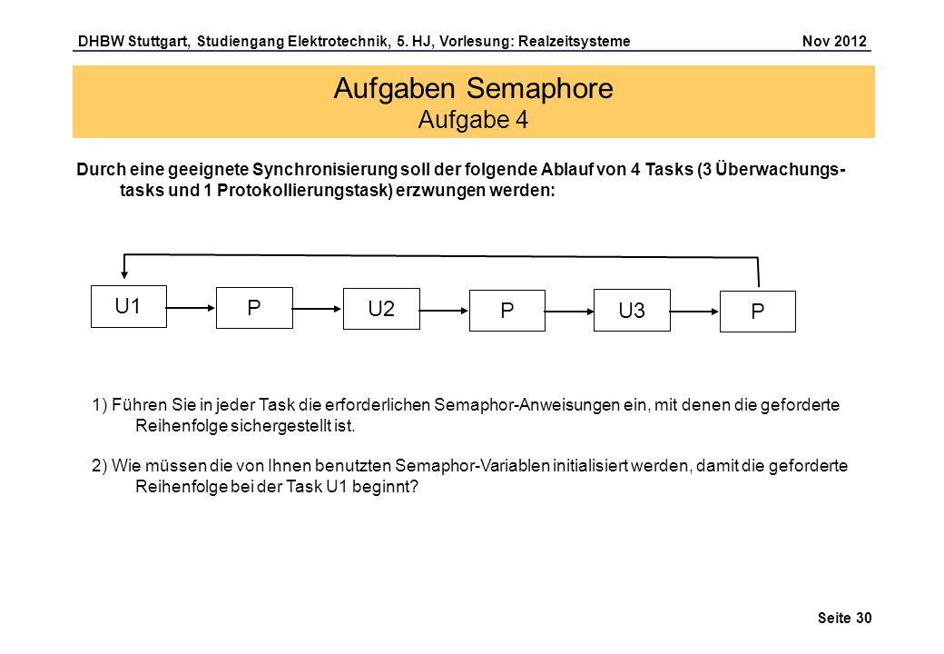 Seite 30 DHBW Stuttgart, Studiengang Elektrotechnik, 5. HJ, Vorlesung: Realzeitsysteme Nov 2012 Aufgaben Semaphore Aufgabe 4 Durch eine geeignete Sync