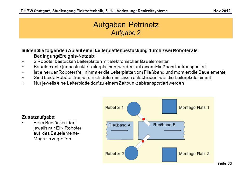Seite 33 DHBW Stuttgart, Studiengang Elektrotechnik, 5. HJ, Vorlesung: Realzeitsysteme Nov 2012 Aufgaben Petrinetz Aufgabe 2 Bilden Sie folgenden Abla