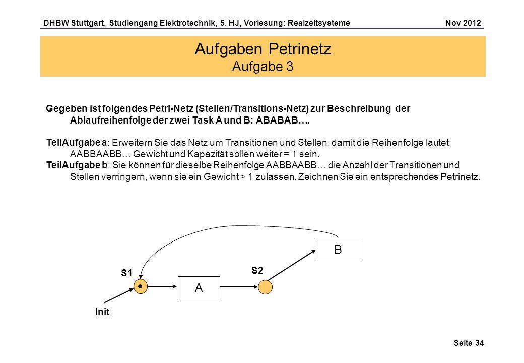 Seite 34 DHBW Stuttgart, Studiengang Elektrotechnik, 5. HJ, Vorlesung: Realzeitsysteme Nov 2012 Aufgaben Petrinetz Aufgabe 3 Gegeben ist folgendes Pet