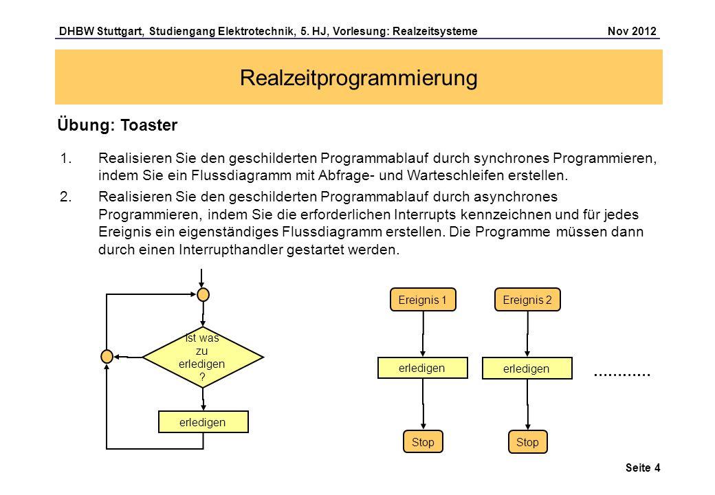 Seite 4 DHBW Stuttgart, Studiengang Elektrotechnik, 5. HJ, Vorlesung: Realzeitsysteme Nov 2012 Realzeitprogrammierung Übung: Toaster 1.Realisieren Sie