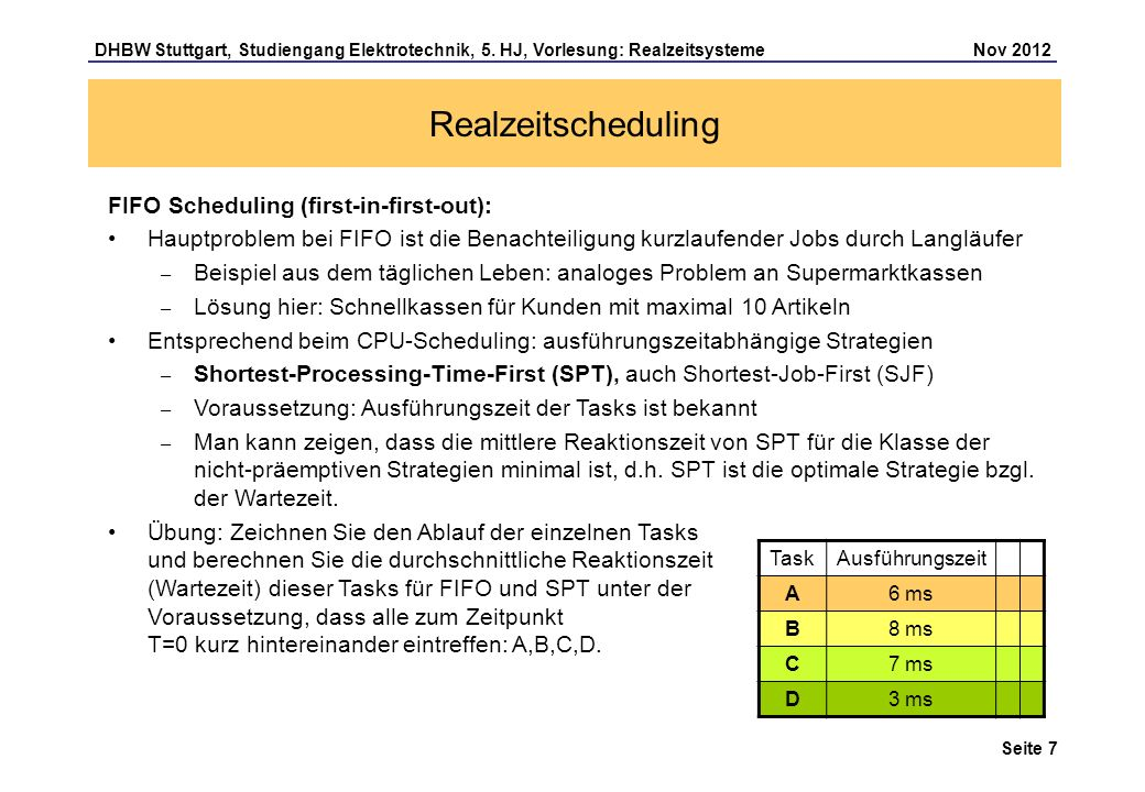Seite 7 DHBW Stuttgart, Studiengang Elektrotechnik, 5. HJ, Vorlesung: Realzeitsysteme Nov 2012 Realzeitscheduling FIFO Scheduling (first-in-first-out)