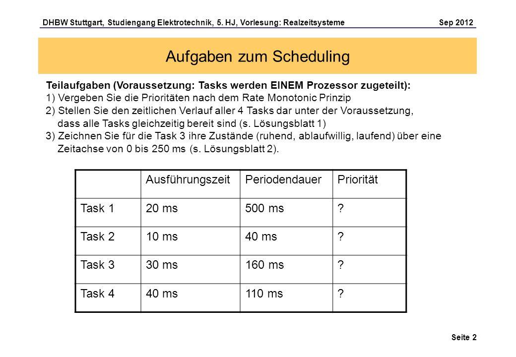 Seite 2 DHBW Stuttgart, Studiengang Elektrotechnik, 5. HJ, Vorlesung: Realzeitsysteme Sep 2012 Aufgaben zum Scheduling Teilaufgaben (Voraussetzung: Ta