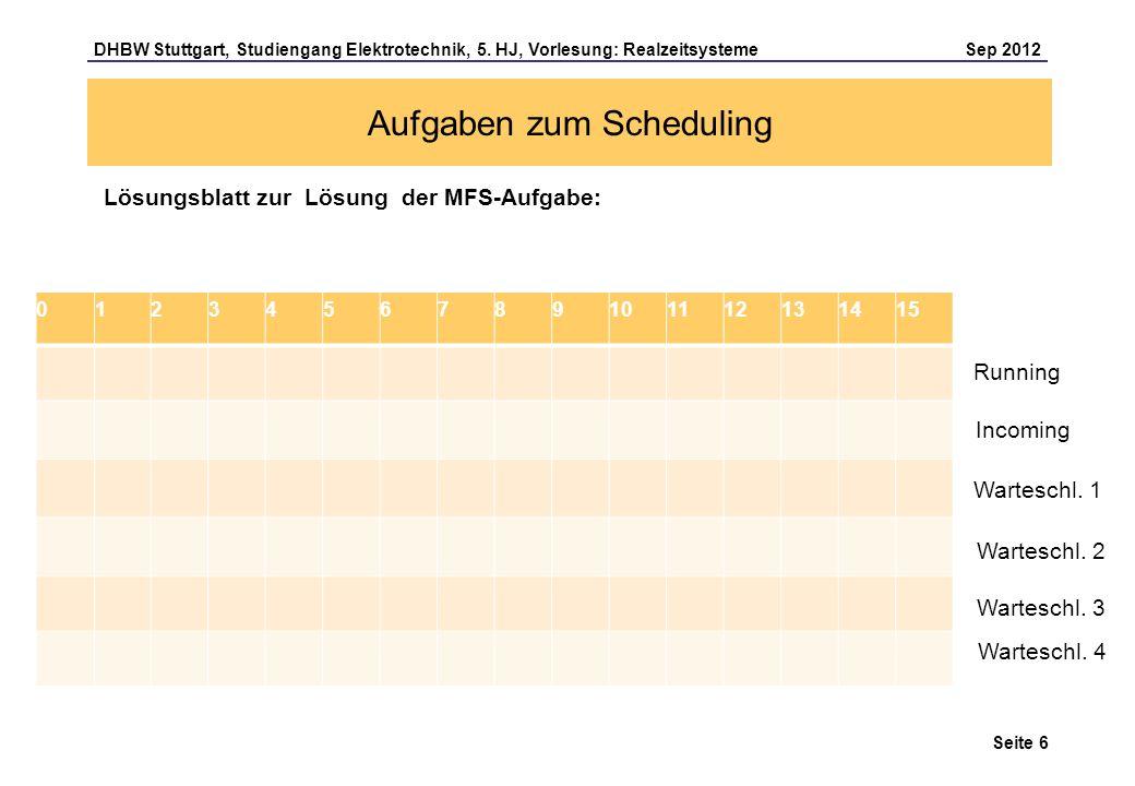 Seite 6 DHBW Stuttgart, Studiengang Elektrotechnik, 5. HJ, Vorlesung: Realzeitsysteme Sep 2012 Aufgaben zum Scheduling Lösungsblatt zur Lösung der MFS