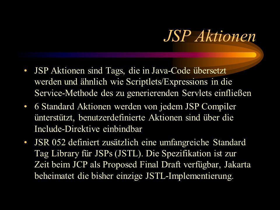 Wichtigste JSP Standard- Aktionen Die Aktion assoziiert ein neues oder übergebenes Java-Objekt mit einem Namen Die Aktion liest ein Property aus einem Java-Objekt per Java Introspection aus, konvertiert den Wert in einen String und fügt das Ergebnis in die HTML-Ausgabe ein Die Aktion modifiziert ein Property aus einem Java-Objekt aus, indem es den gegebenen String in den passenden Java-Typ konvertiert