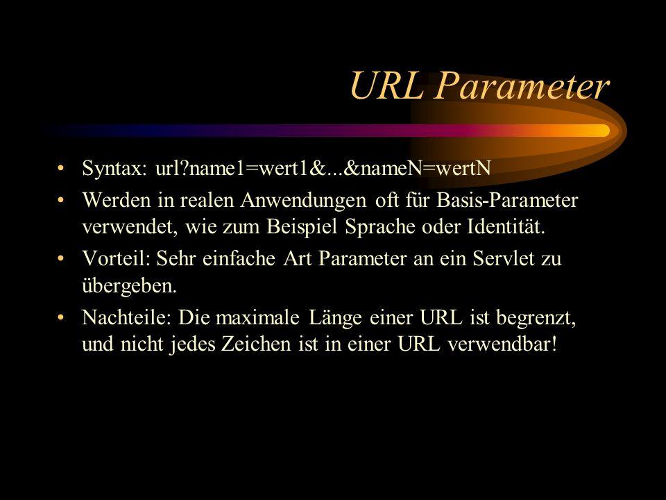 URL Parameter Syntax: url?name1=wert1&...&nameN=wertN Werden in realen Anwendungen oft für Basis-Parameter verwendet, wie zum Beispiel Sprache oder Identität.