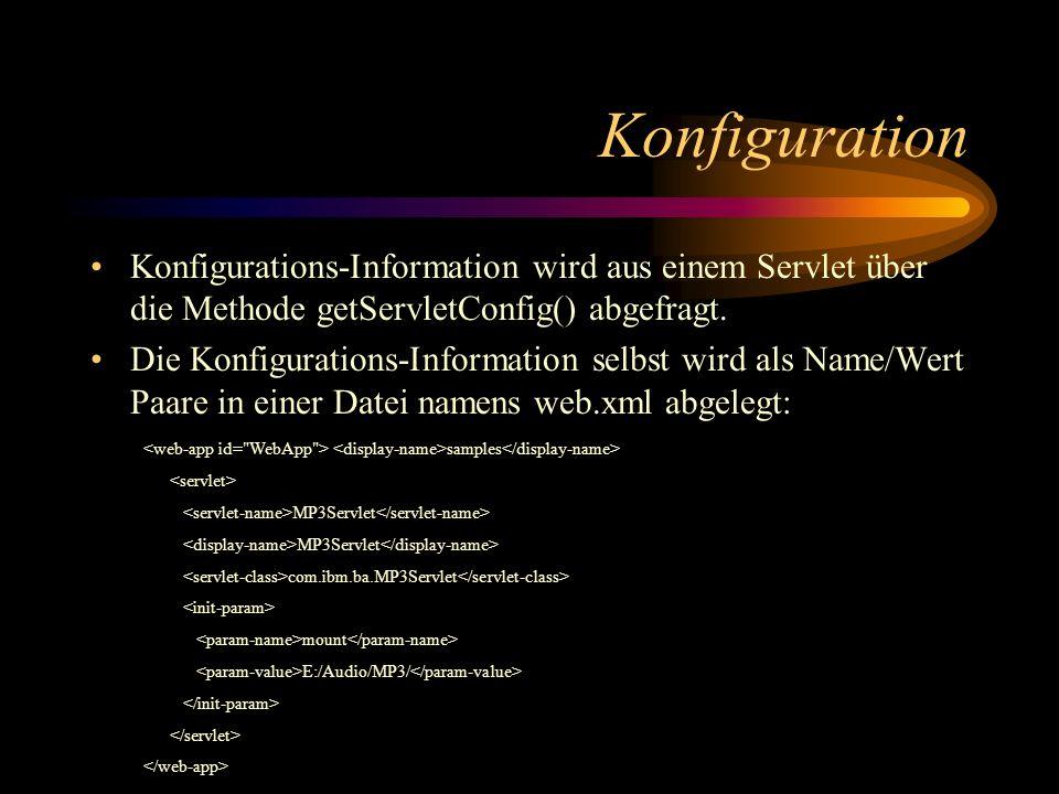 Konfiguration Konfigurations-Information wird aus einem Servlet über die Methode getServletConfig() abgefragt.