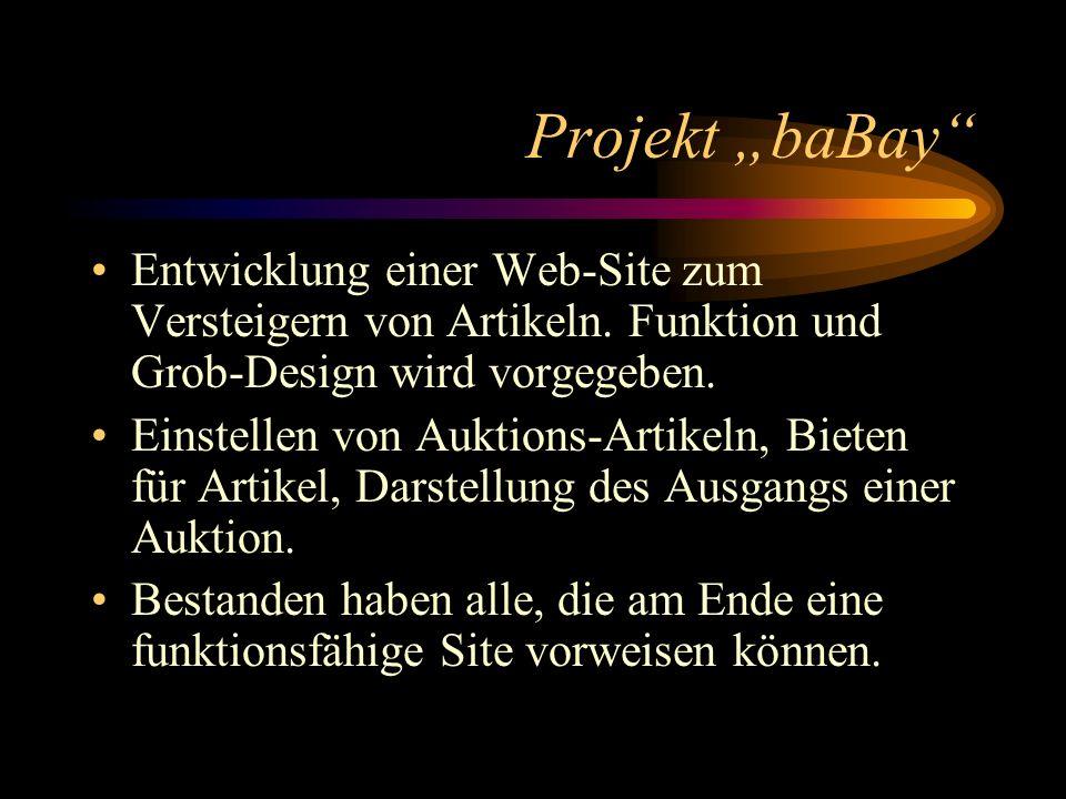 Projekt baBay Entwicklung einer Web-Site zum Versteigern von Artikeln.