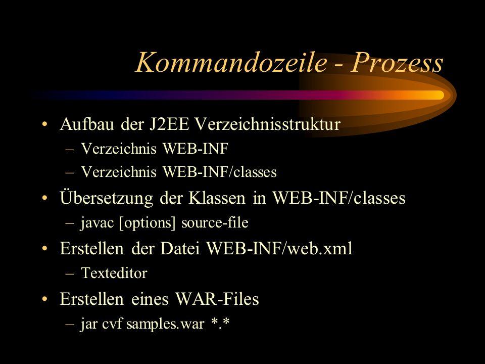 Kommandozeile - Prozess Aufbau der J2EE Verzeichnisstruktur –Verzeichnis WEB-INF –Verzeichnis WEB-INF/classes Übersetzung der Klassen in WEB-INF/classes –javac [options] source-file Erstellen der Datei WEB-INF/web.xml –Texteditor Erstellen eines WAR-Files –jar cvf samples.war *.*