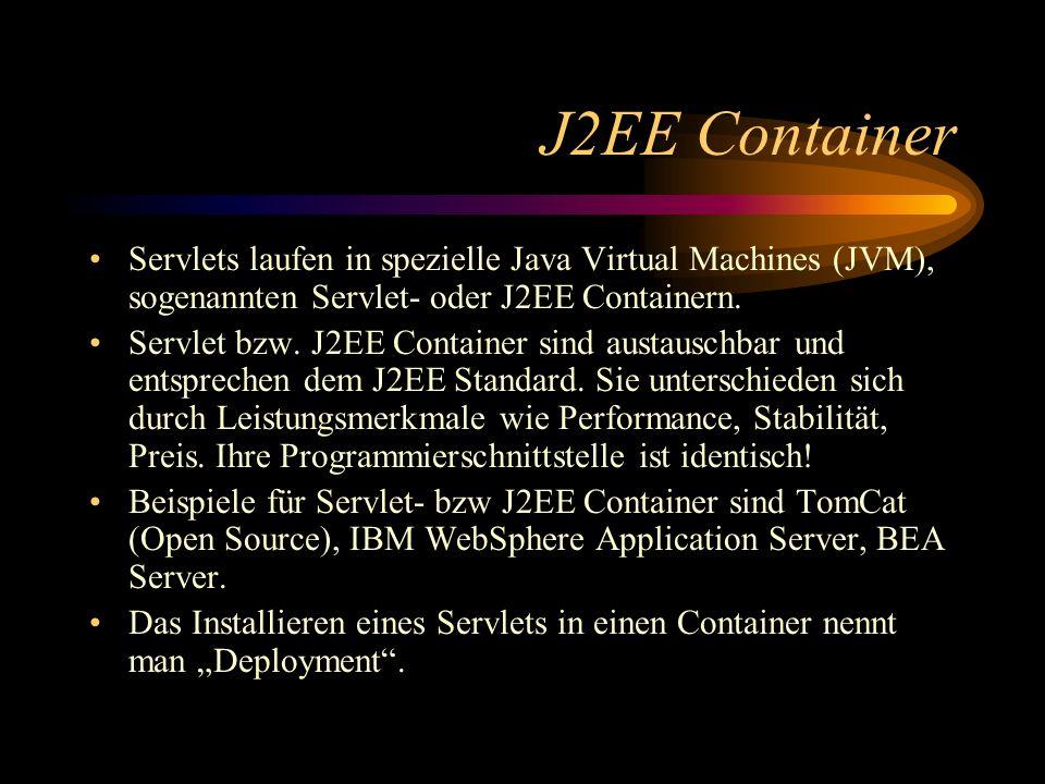 Beispiel - Servlet package com.ibm.ba; import javax.servlet.*; import javax.servlet.http.*; import java.io.*; import javax.naming.*; import javax.sql.DataSource;import java.sql.*; public class ArtikelAbfrageServlet extends HttpServlet { public void doGet(HttpServletRequest request, HttpServletResponse response) throws IOException { try { String artikelName = request.getParameter( name ); Context context = new InitialContext(); DataSource dataSource = (DataSource) context.lookup(this.getServletConfig().getInitParameter( DataSourceName )); Statement statement = dataSource.getConnection().createStatement(); ResultSet resultSet = statement.executeQuery ( SELECT * FROM SBAUMEI.ARTICLE WHERE NAME = + artikelName + ); resultSet.next(); ArtikelViewBean artikel = new ArtikelViewBean(resultSet.getString( NAME ), resultSet.getInt( QUANTITY )); request.getSession(true).setAttribute( artikel , artikel); this.getServletConfig().getServletContext().getRequestDispatcher( jsp/ArtikelView.jsp ).forward(request, response); } catch (Throwable exception) { exception.printStackTrace(response.getWriter()); } Request URL: http:// :8080/samples/servlet/ArtikelAbfrageServlet?name= im JSP definierter Name das Servlet übergibt das ViewBean im Session-Context, daher scope=session im JSP!