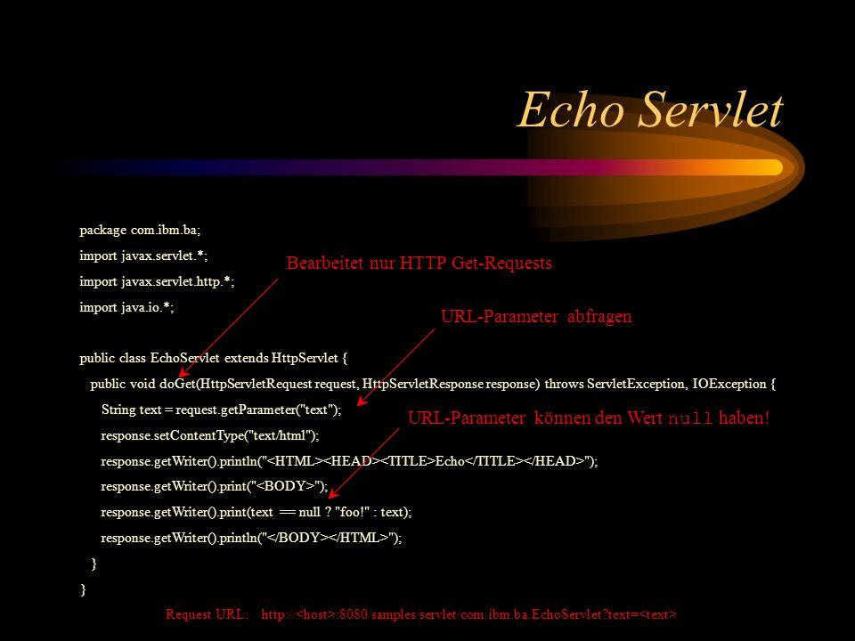JSP Scripting JSP Scripting erlaubt die direkte Verbindung von Java Code mit HTML Deklarationen deklarieren Methoden und Variablen für das zu generierende Servlet Syntax: Scriptlets sind Java-Codefragmente, die der JSP Compiler in die Service-Methode des zu generierenden Servlets einbauen soll Syntax: Expressions sind Java-Ausdrücke, deren Evaluierungs- Ergebnis der JSP Compiler in das zu generierenden Servlet einbauen soll Syntax: