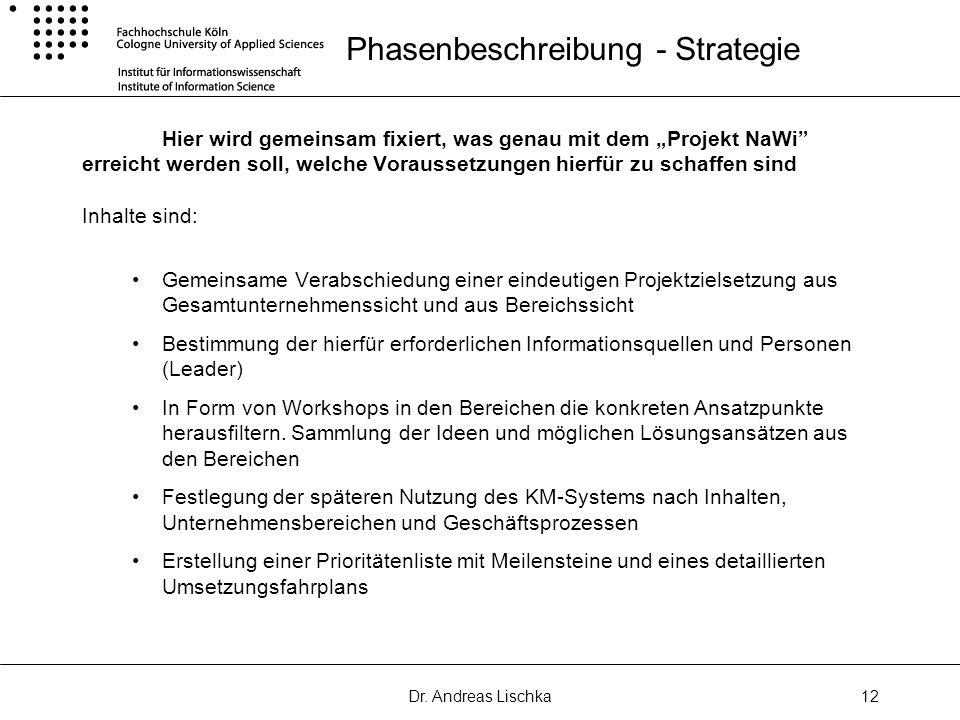 Dr. Andreas Lischka12 Phasenbeschreibung - Strategie Hier wird gemeinsam fixiert, was genau mit dem Projekt NaWi erreicht werden soll, welche Vorausse