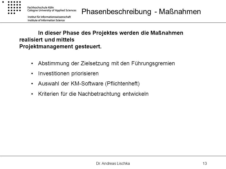Dr. Andreas Lischka13 Phasenbeschreibung - Maßnahmen In dieser Phase des Projektes werden die Maßnahmen realisiert und mittels Projektmanagement geste