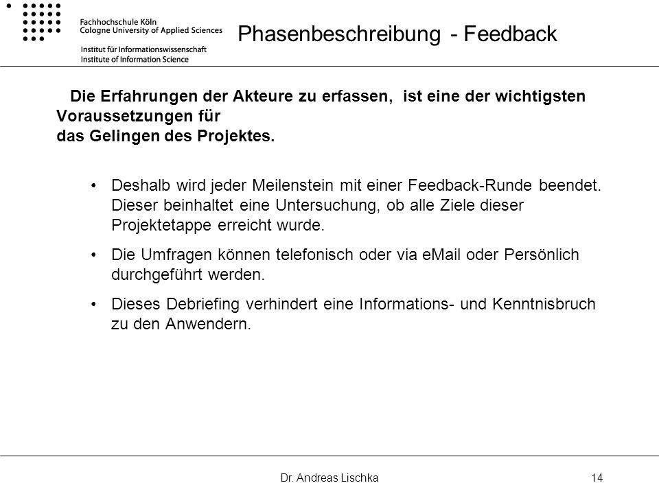 Dr. Andreas Lischka14 Phasenbeschreibung - Feedback Die Erfahrungen der Akteure zu erfassen, ist eine der wichtigsten Voraussetzungen für das Gelingen
