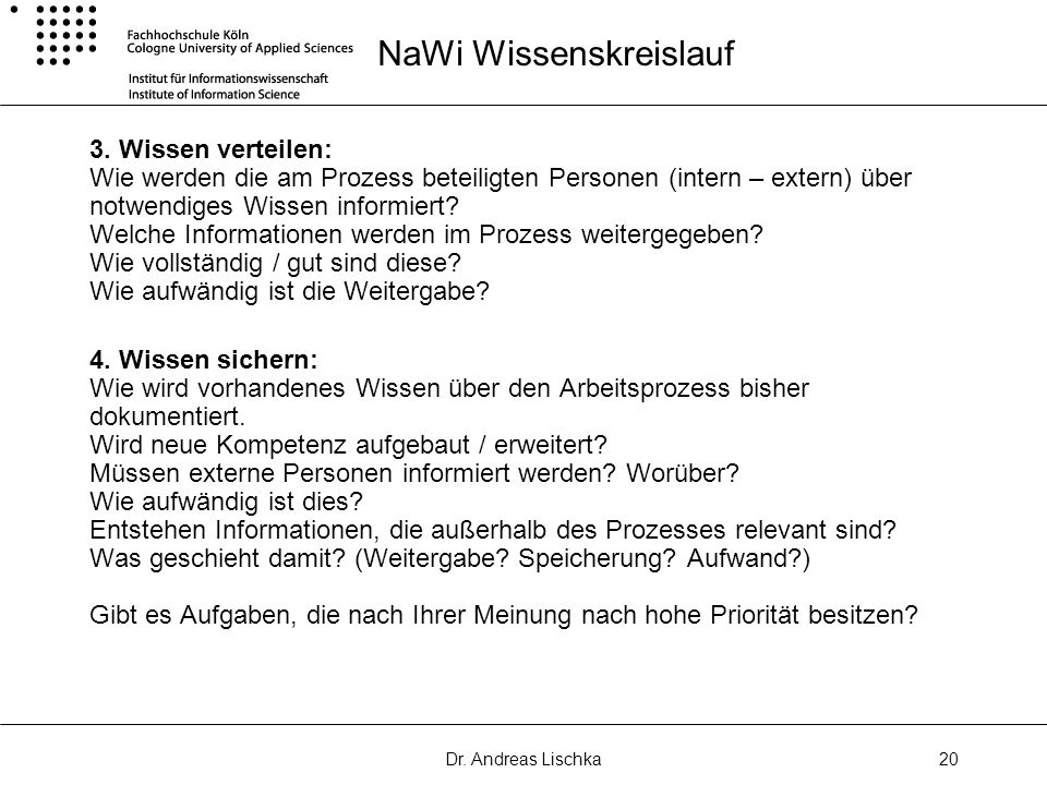 Dr. Andreas Lischka20 NaWi Wissenskreislauf 3. Wissen verteilen: Wie werden die am Prozess beteiligten Personen (intern – extern) über notwendiges Wis