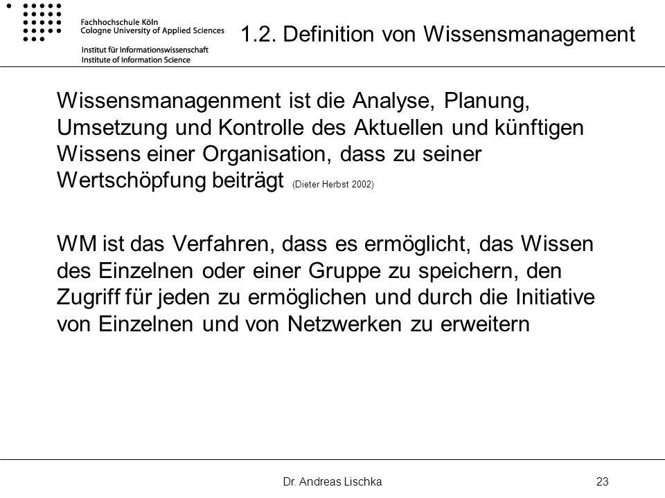 Dr. Andreas Lischka23 1.2. Definition von Wissensmanagement Wissensmanagenment ist die Analyse, Planung, Umsetzung und Kontrolle des Aktuellen und kün