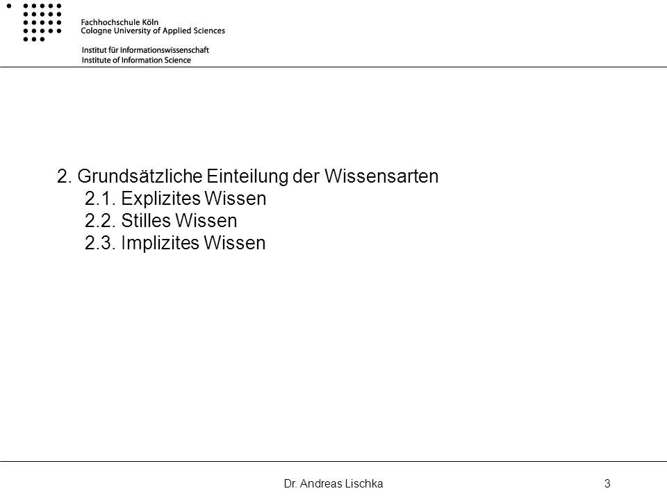 Dr. Andreas Lischka3 2. Grundsätzliche Einteilung der Wissensarten 2.1. Explizites Wissen 2.2. Stilles Wissen 2.3. Implizites Wissen