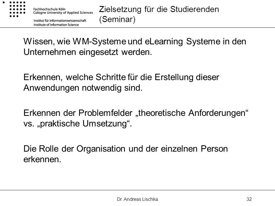 Dr. Andreas Lischka32 Zielsetzung für die Studierenden (Seminar) Wissen, wie WM-Systeme und eLearning Systeme in den Unternehmen eingesetzt werden. Er