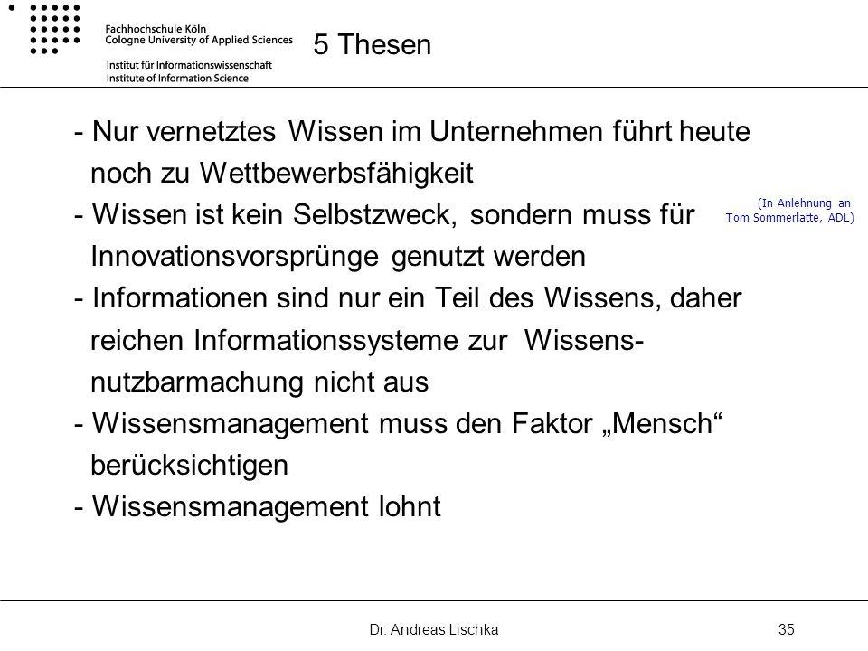 Dr. Andreas Lischka35 5 Thesen - Nur vernetztes Wissen im Unternehmen führt heute noch zu Wettbewerbsfähigkeit - Wissen ist kein Selbstzweck, sondern