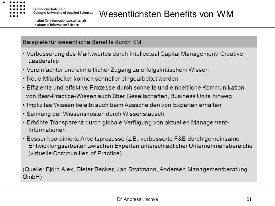 Dr. Andreas Lischka61 Wesentlichsten Benefits von WM Beispiele für wesentliche Benefits durch KM Verbesserung des Marktwertes durch Intellectual Capit