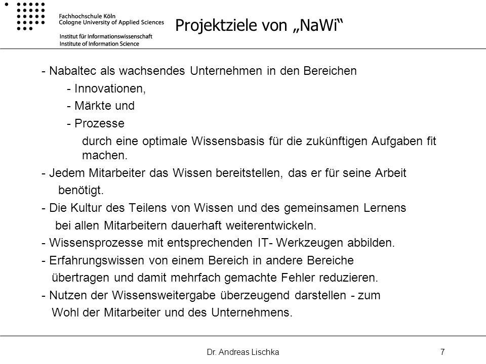 Dr. Andreas Lischka7 Projektziele von NaWi - Nabaltec als wachsendes Unternehmen in den Bereichen - Innovationen, - Märkte und - Prozesse durch eine o