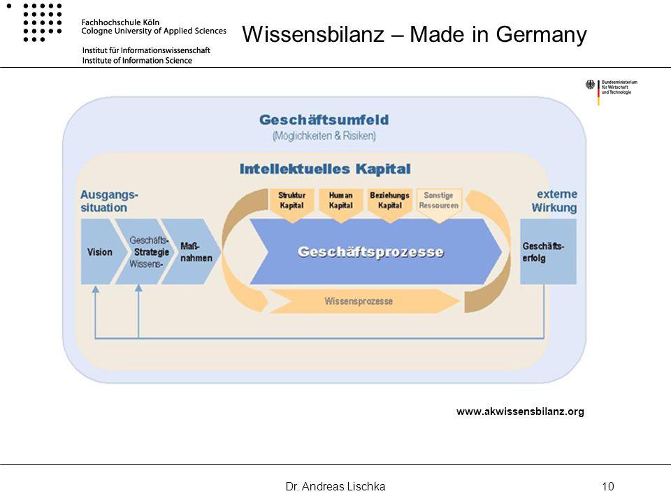 Dr. Andreas Lischka10 Wissensbilanz – Made in Germany www.akwissensbilanz.org
