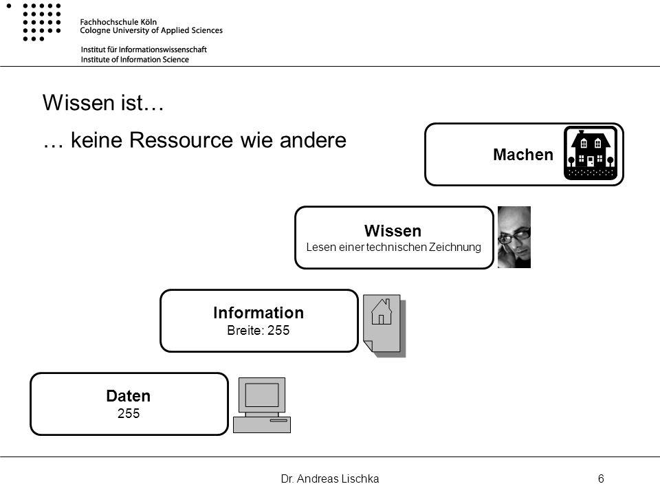 Dr. Andreas Lischka6 Wissen ist… Daten 255 Information Breite: 255 Wissen Lesen einer technischen Zeichnung Machen … keine Ressource wie andere