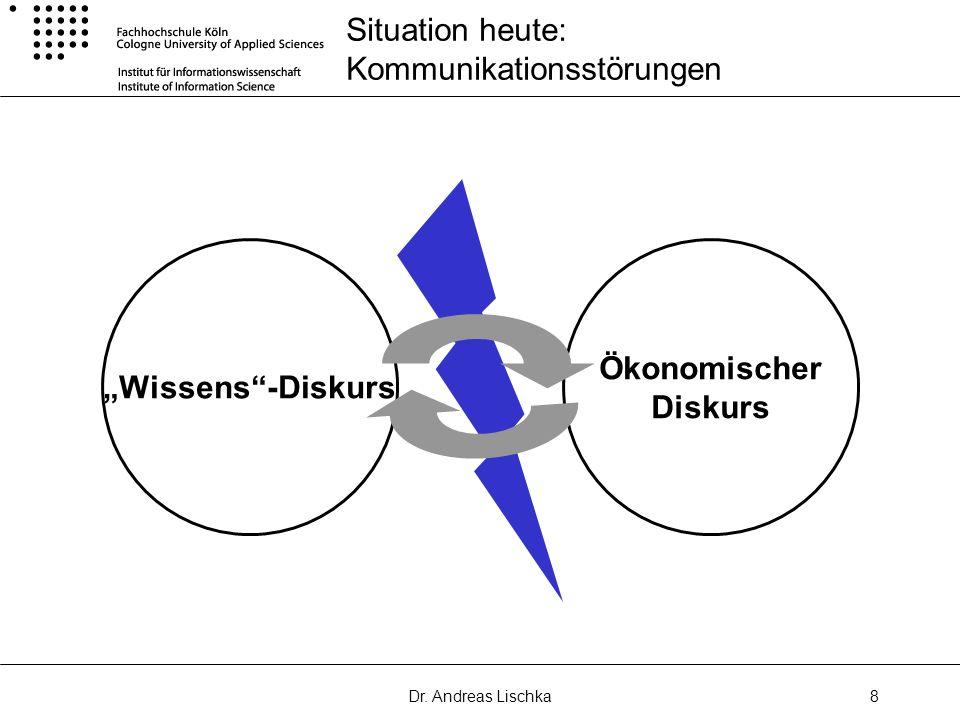 Dr. Andreas Lischka8 Situation heute: Kommunikationsstörungen Wissens-Diskurs Ökonomischer Diskurs