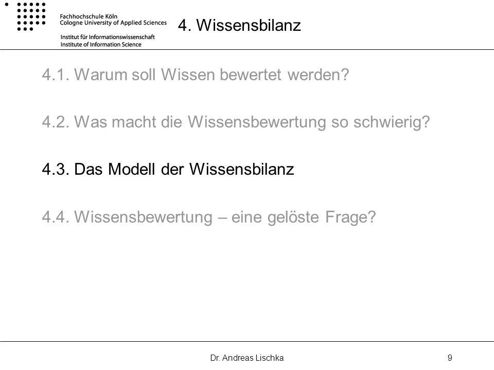 Dr. Andreas Lischka9 4. Wissensbilanz 4.1. Warum soll Wissen bewertet werden? 4.2. Was macht die Wissensbewertung so schwierig? 4.3. Das Modell der Wi