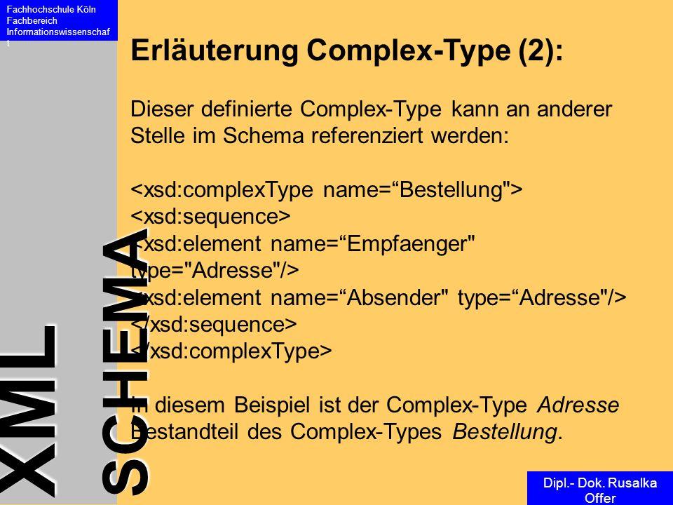 XML SCHEMA Fachhochschule Köln Fachbereich Informationswissenschaf t Dipl.- Dok. Rusalka Offer Erläuterung Complex-Type (2): Dieser definierte Complex