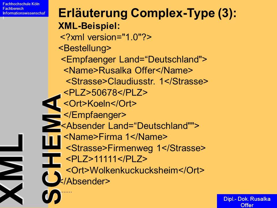 XML SCHEMA Fachhochschule Köln Fachbereich Informationswissenschaf t Dipl.- Dok. Rusalka Offer Erläuterung Complex-Type (3): XML-Beispiel: Rusalka Off