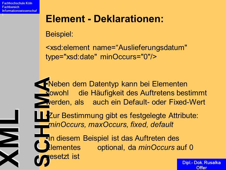 XML SCHEMA Fachhochschule Köln Fachbereich Informationswissenschaf t Dipl.- Dok. Rusalka Offer Element - Deklarationen: Beispiel: Neben dem Datentyp k