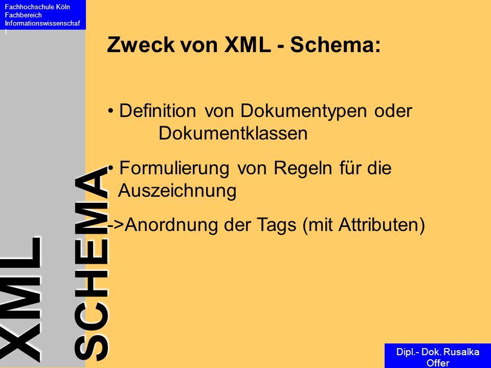 XML SCHEMA Fachhochschule Köln Fachbereich Informationswissenschaf t Dipl.- Dok. Rusalka Offer Zweck von XML - Schema: Definition von Dokumentypen ode