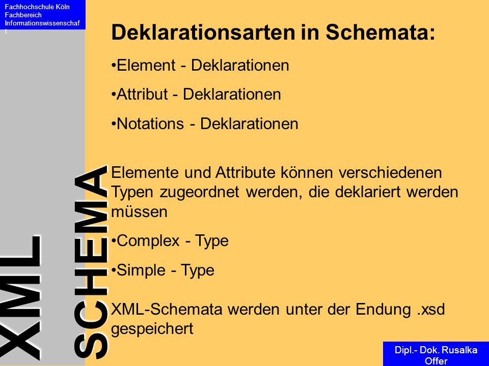 XML SCHEMA Fachhochschule Köln Fachbereich Informationswissenschaf t Dipl.- Dok. Rusalka Offer Deklarationsarten in Schemata: Element - Deklarationen
