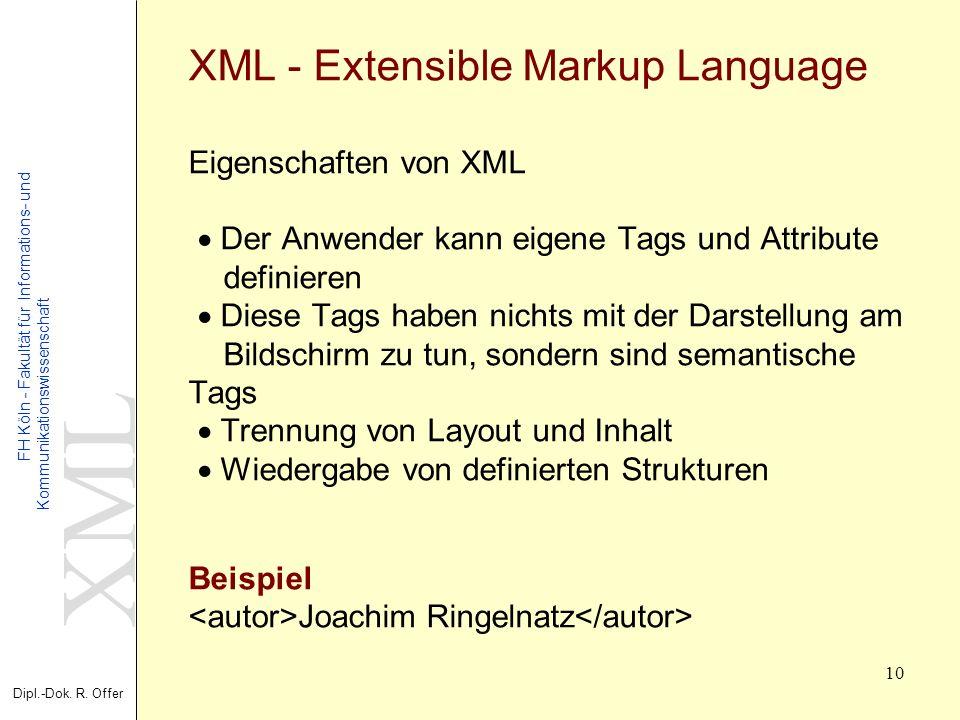 XML Dipl.-Dok. R. Offer FH Köln - Fakultät für Informations- und Kommunikationswissenschaft 10 XML - Extensible Markup Language Eigenschaften von XML