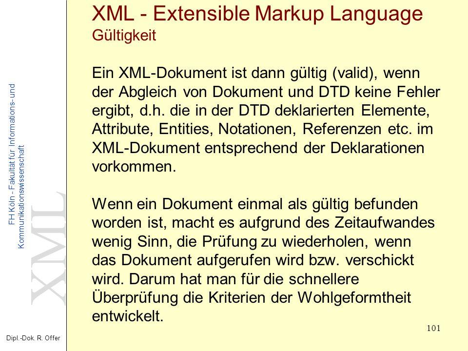 XML Dipl.-Dok. R. Offer FH Köln - Fakultät für Informations- und Kommunikationswissenschaft 101 XML - Extensible Markup Language Gültigkeit Ein XML-Do