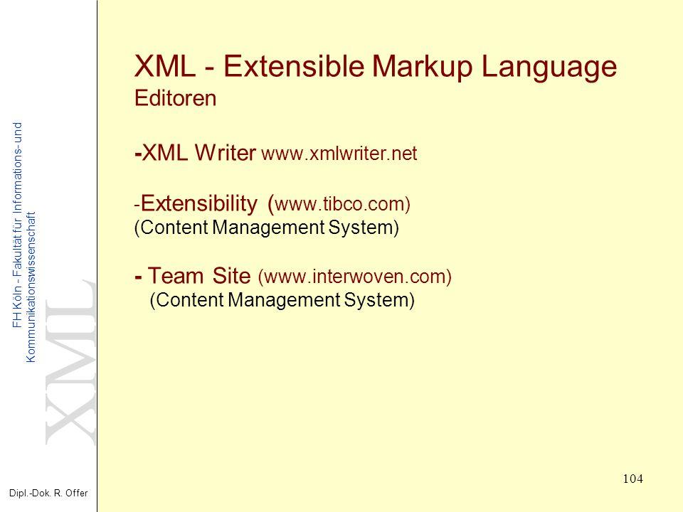 XML Dipl.-Dok. R. Offer FH Köln - Fakultät für Informations- und Kommunikationswissenschaft 104 XML - Extensible Markup Language Editoren -XML Writer
