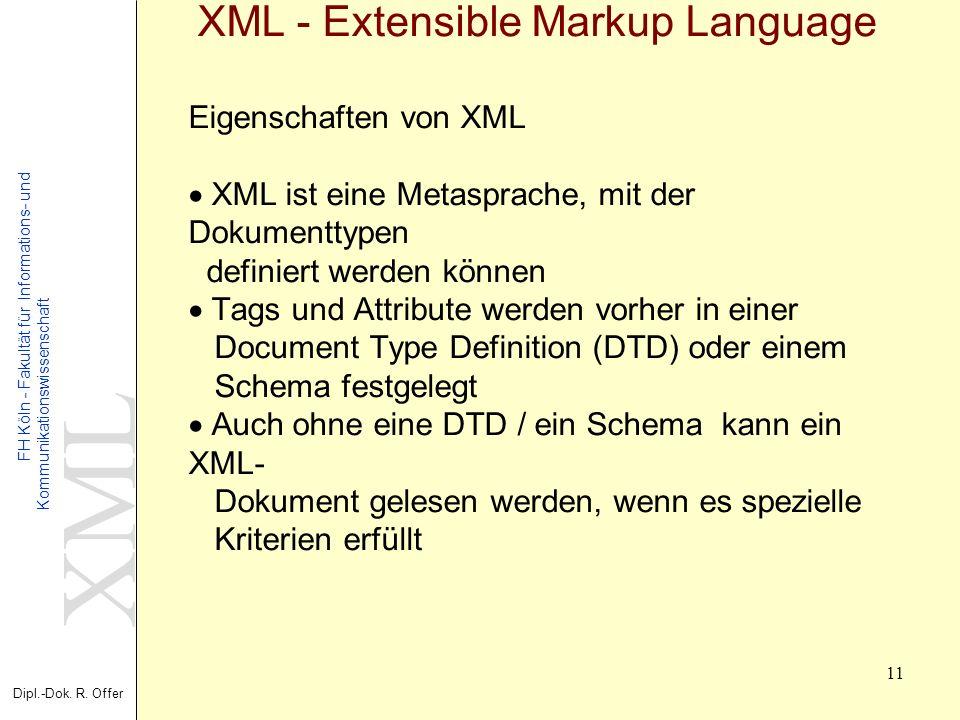 XML Dipl.-Dok. R. Offer FH Köln - Fakultät für Informations- und Kommunikationswissenschaft 11 XML - Extensible Markup Language Eigenschaften von XML