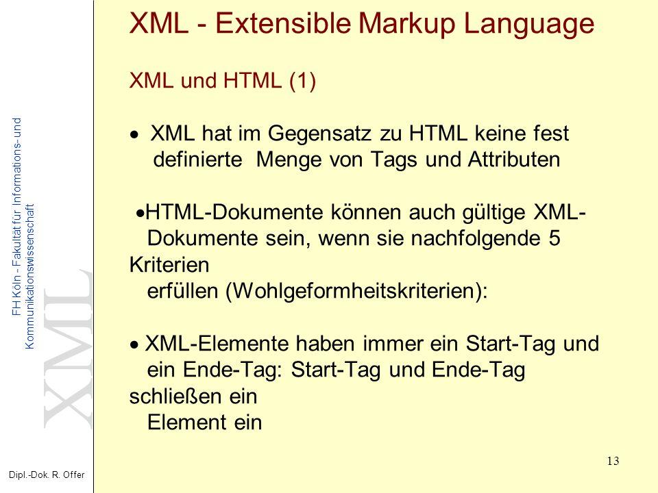 XML Dipl.-Dok. R. Offer FH Köln - Fakultät für Informations- und Kommunikationswissenschaft 13 XML - Extensible Markup Language XML und HTML (1) XML h