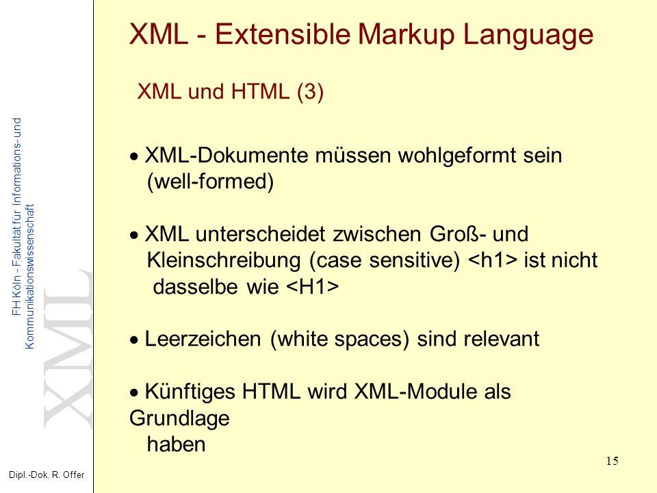 XML Dipl.-Dok. R. Offer FH Köln - Fakultät für Informations- und Kommunikationswissenschaft 15 XML - Extensible Markup Language XML und HTML (3) XML-D
