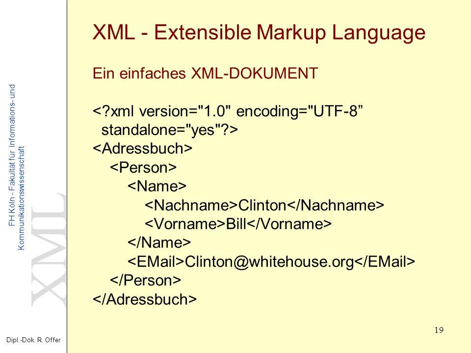 XML Dipl.-Dok. R. Offer FH Köln - Fakultät für Informations- und Kommunikationswissenschaft 19 XML - Extensible Markup Language Ein einfaches XML-DOKU
