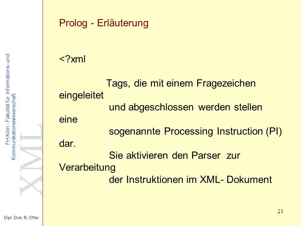 XML Dipl.-Dok. R. Offer FH Köln - Fakultät für Informations- und Kommunikationswissenschaft 21 XML - Extensible Markup Language Prolog - Erläuterung <