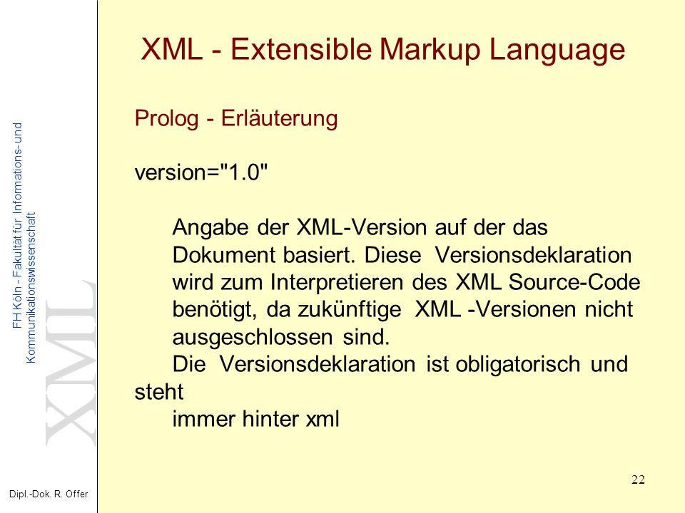 XML Dipl.-Dok. R. Offer FH Köln - Fakultät für Informations- und Kommunikationswissenschaft 22 XML - Extensible Markup Language Prolog - Erläuterung v