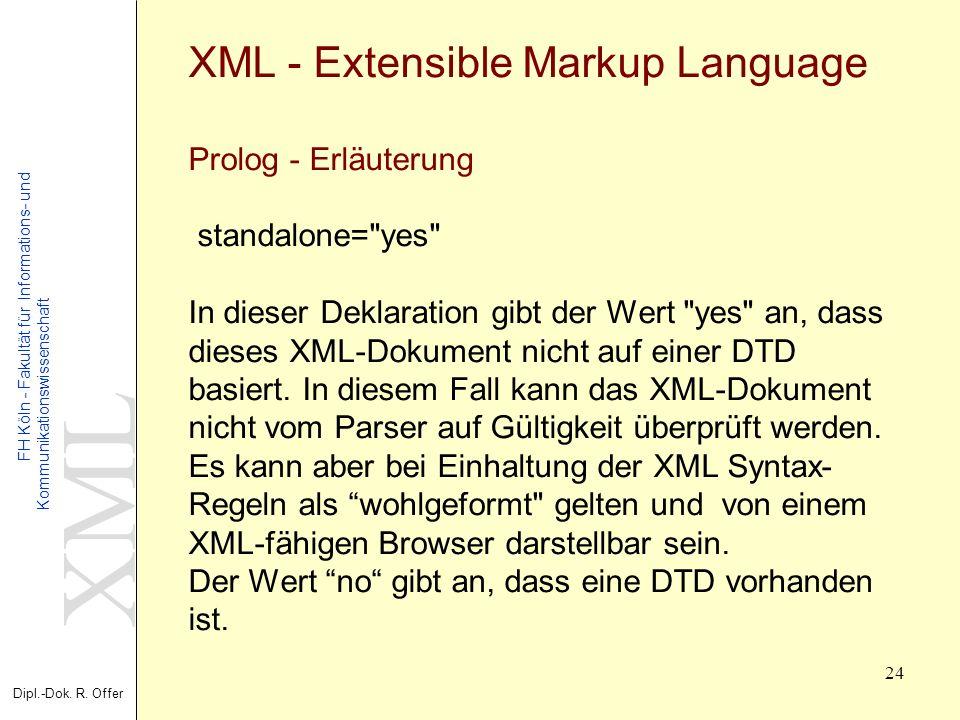XML Dipl.-Dok. R. Offer FH Köln - Fakultät für Informations- und Kommunikationswissenschaft 24 XML - Extensible Markup Language Prolog - Erläuterung s
